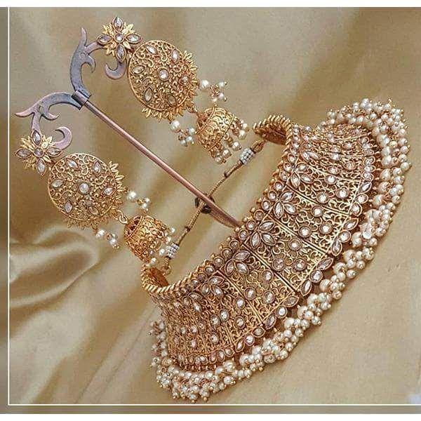 CHOKER NECKLACE Bollywood Party Wear Weddings Jewelry FashionJewelry Necklace Set Choker Necklace Jewelry Set Earrings-Tikka Bridal Jewelry
