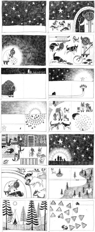Some storyboarding for a children's book by Martha Anne; More of her Inuit inspired artwork can be found here: http://martha-anne.tumblr.com/tagged/inuit