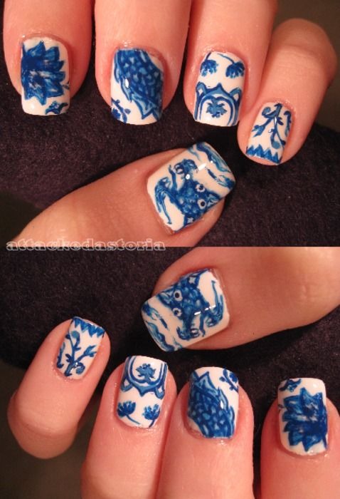 Blue Willow, fine china nail design nailart