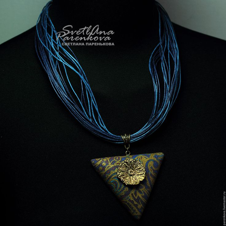 Купить кулон из полимерной глины стильный треугольный (337) - украшения ручной работы, стильное украшение