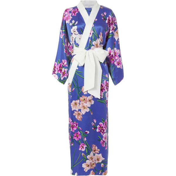Olivia Von Halle Queenie Briella Kimono Robe ($1,080) ❤ liked on Polyvore featuring intimates, robes, silk bath robes, silk dressing gown, silk kimono, dressing gown and kimono dressing gown