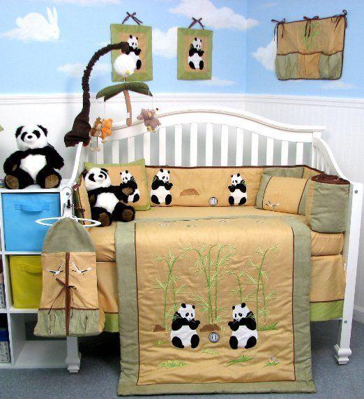 Oso Panda Gigante Bebé Cuna Guardería Ropa de cama juego de 13 Piezas Incluye Bolsa De Pañales