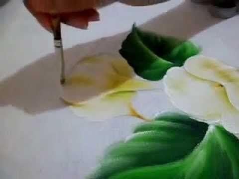 Como pintar Copo de Leite e sua folha. - YouTube