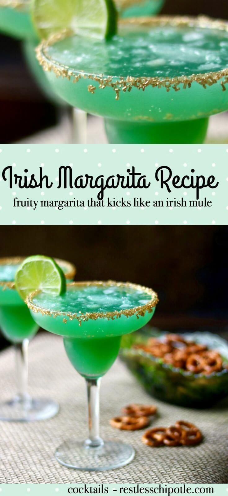 The perfect green cocktail for St Patrick's Day!Irish margarita recipe is made with tequila, Irish whiskey, and pineapple juice - a fruity drink with a kick like an Irish mule! So good! From RestlessChipotle.com via @Marye at Restless Chipotle