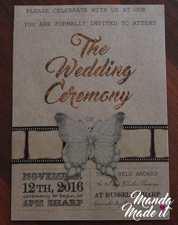 DIY vintage kraft paper wedding invitations with toner reactive foil