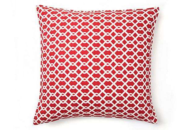 Summer Lattice 16x16  Pillow, Watermelon: Cotton Pillows, Onekingslan With, Color, Lattices 16X16, Summer Lattices, 16X16 Cotton, Watermelon Whit 60 00, 16X16 Pillows, Lattices Prints