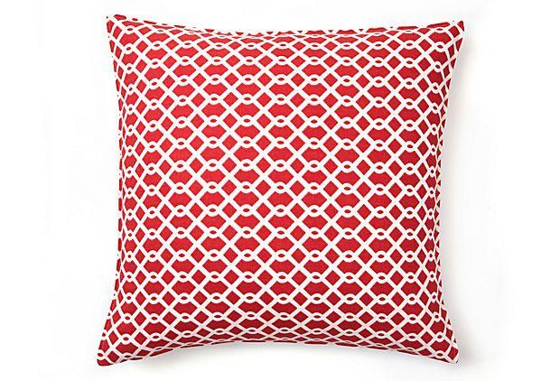 Summer Lattice 16x16  Pillow, Watermelon: Cotton Pillows, Onekingslan With, Color, Lattices 16X16, Summer Lattices, 16X16 Cotton, Watermelon Whit 60 00, 16X16 Pillows, Lattices Prints