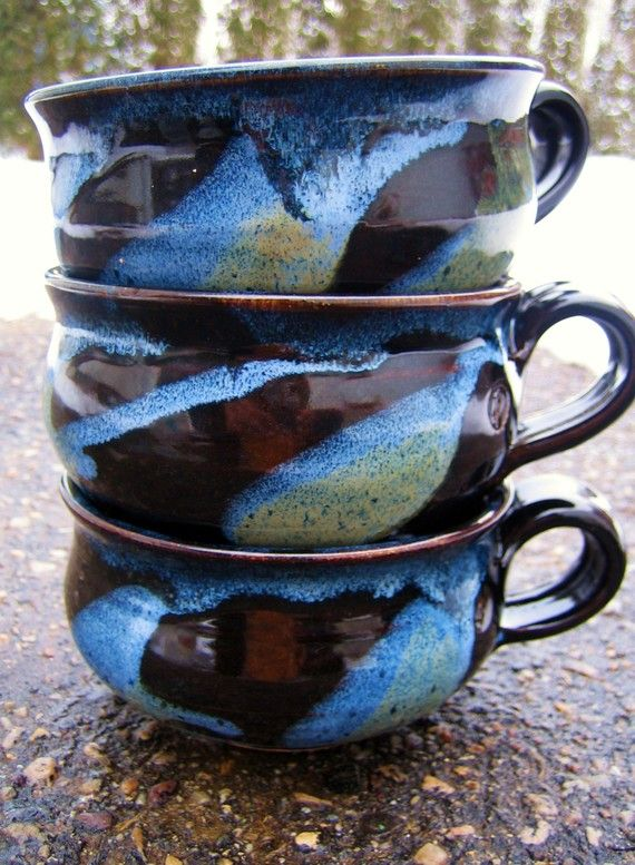 soup mugs! ( beautiful glazes! )
