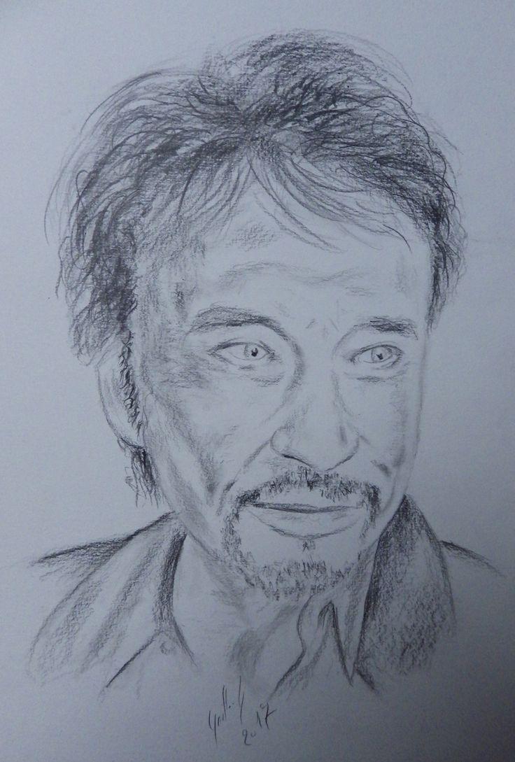 Johnny Hallyday Dessin au fusain  Dessins Drawing Pencil  Pinterest  Dessin Fusain et Drawing