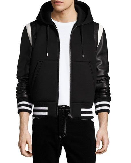 e1bfc6d93ad GIVENCHY Leather-Sleeve Neoprene Hooded Jacket, Black. #givenchy #cloth #