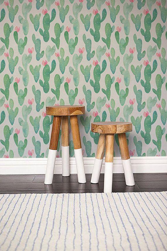 Blooming Cactus print Wallpaper/ Watercolour Removable Wallpaper/ Self adhesive vinyl Wallpaper / Nursery Wall Covering - 144