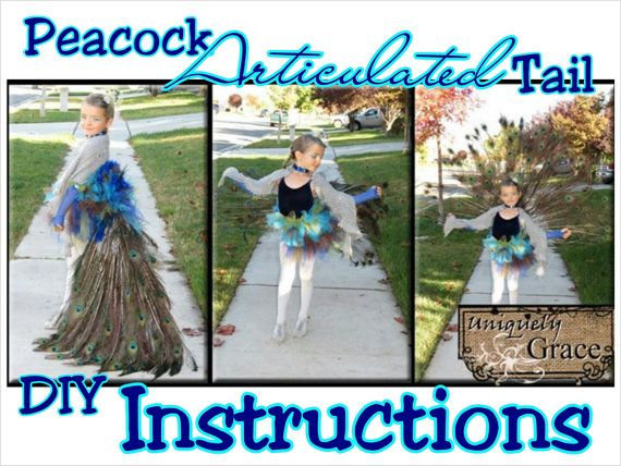 PEACOCK COSTUME!!!! Adult or Child! DIY Instructions for an Articulated Peacock Tail! Could be used for any bird!  #uniquelygrace #peacock #costume #Halloween