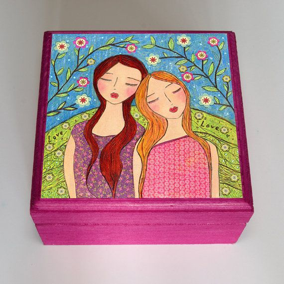 Best Friend Gift Sister Gift Girls Jewelry Box Wooden by Sascalia, $22.99