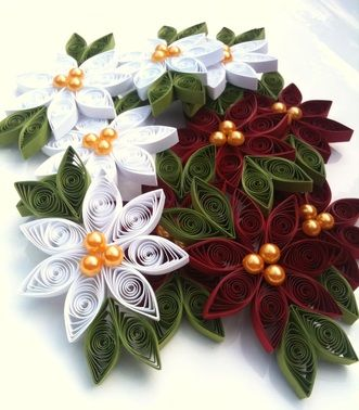 DIY paper poinsettias  I love quilling..something to learn in Jan and make for everyone by Dec!!