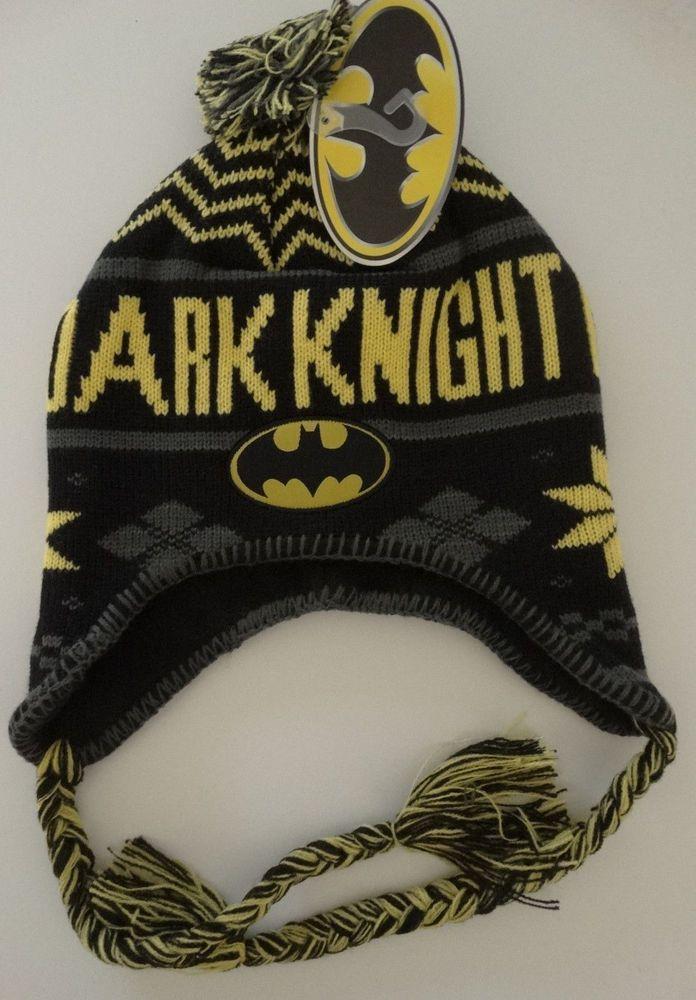 reputable site a791f 16db4 Batman Dark Knight Beanie Laplander Pom Knit Hat Dc Comics Nwt  DCComics   LaplanderBeanie