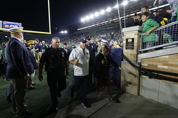 Oct 21, 2017; South Bend, IN, USA; Notre Dame Fighting Irish coach Brian Kelly walks off the field after the game against the Southern California Trojans at Notre Dame Stadium. Mandatory Credit: Brian Spurlock-USA TODAY Sports