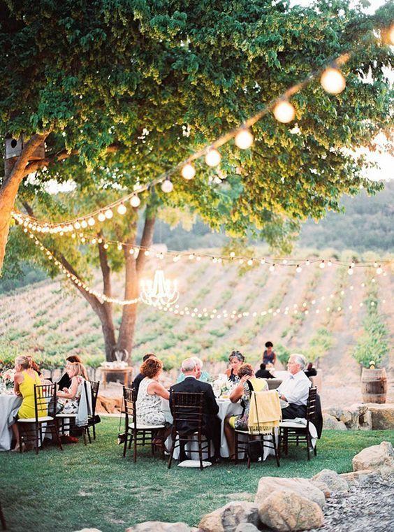 Bistro Lighting over a Romantic Outdoor Wedding Reception / http://www.deerpearlflowers.com/outdoor-vineyard-wedding-ideas/