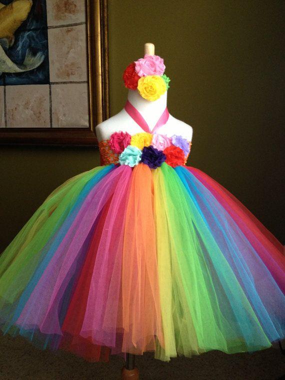 Rainbow color tutu dress birthday party photo girl  by BabyIsland, $59.95
