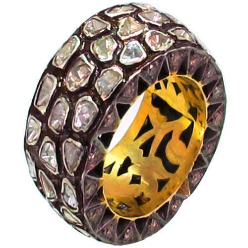 Polki/Rose Cut Diamond Band Fine Ring 14k Gold Vintage Style 925 Sterling Silver #Handmade