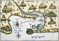 PLYMOUTH, MA, MAP 1605. Samuel de Champlain's map of Port St