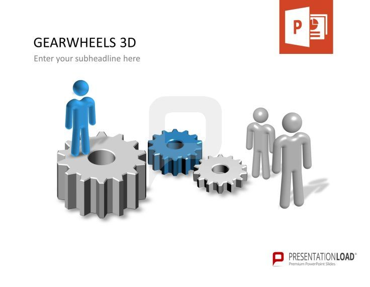 3D #gearwheels - people included TECHNICAL DESIGN \/\/ POWERPOINT - 3d powerpoint template