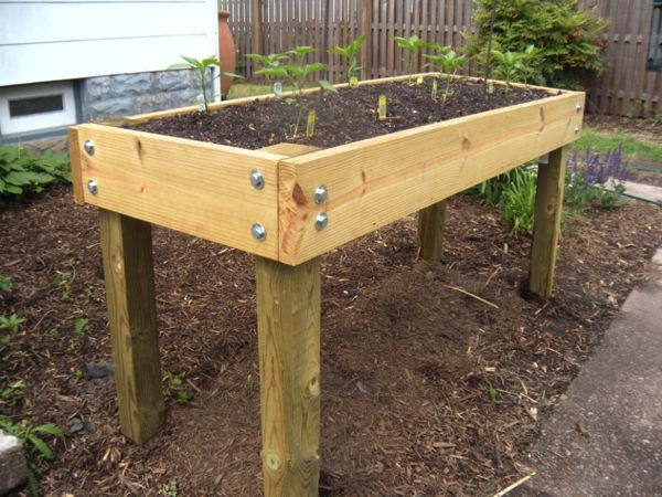 Waist high planter box plans google search gardening for Raised bed plans