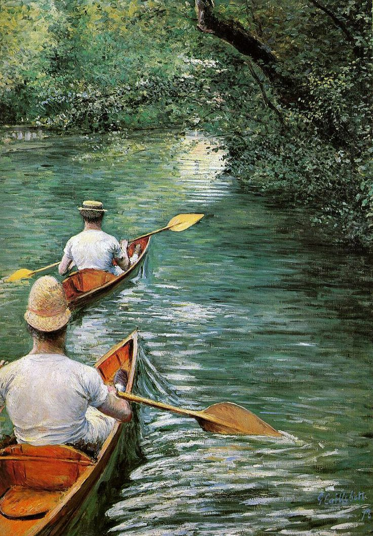 """Périssoires"" huile sur toile de Gustave Caillebotte (1848-1894) peintre français. Exposition jusqu'au au 20 juillet 2014 à Yerres (Rer D, direction Melun, en 20 mn depuis la gare de Lyon) ✏✏✏✏✏✏✏✏✏✏✏✏✏✏✏✏  ARTS ET PEINTURES - ARTS AND PAINTINGS  ☞ https://fr.pinterest.com/JeanfbJf/pin-peintres-painters-index/ ══════════════════════  Gᴀʙʏ﹣Fᴇ́ᴇʀɪᴇ BIJOUX  ☞ https://fr.pinterest.com/JeanfbJf/pin-index-bijoux-de-gaby-f%C3%A9erie-par-barbier-j-f/ ✏✏✏✏✏✏✏✏✏✏✏✏✏✏✏✏"