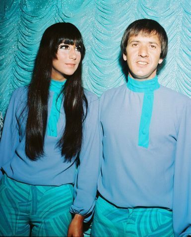 Sonny and Cher in matching blue outfits