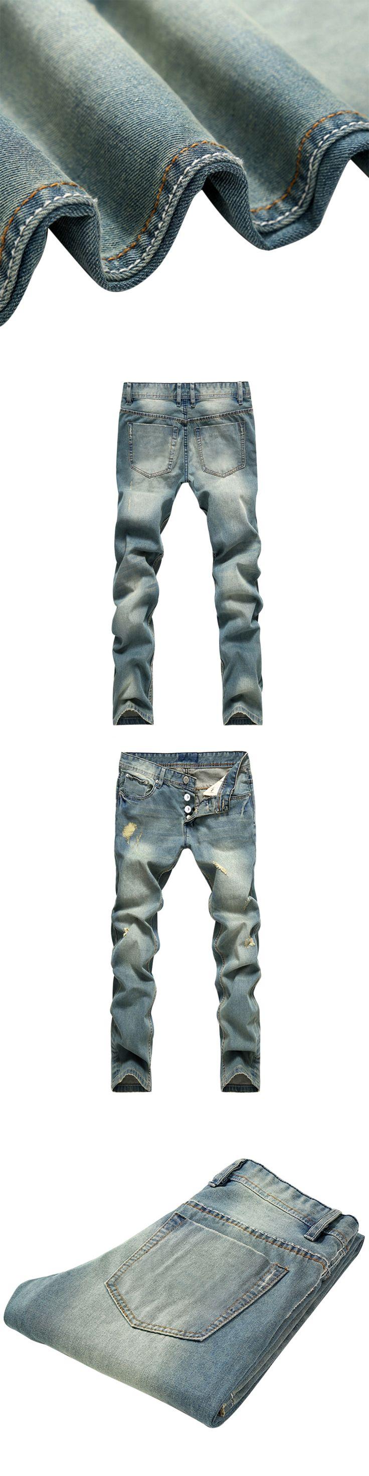 Autumn 2017 New Men's Modern Harem Jeans Slim Pencil Pants For Youth Fashion Cross-Pants  Men Patchwork Hole Denim Skinny