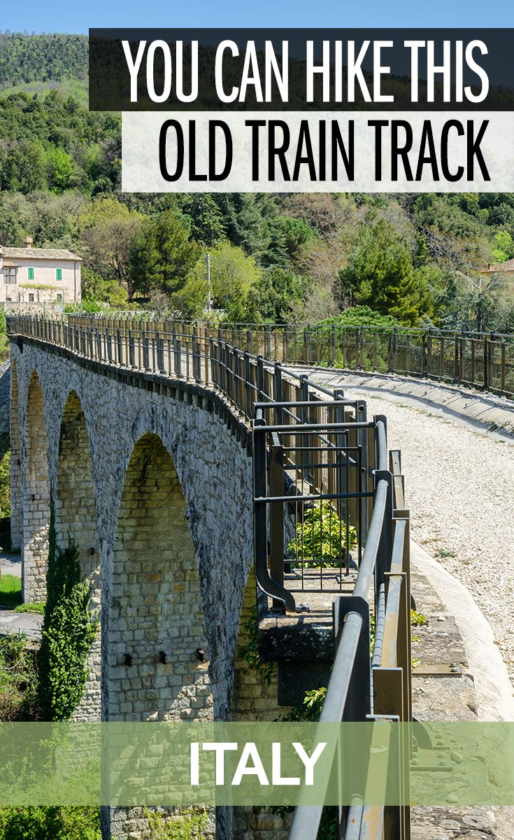 This old train track between Spoleto and Norcia has been renovated and turned into one of the best places to hike in Italy. It's also a fantastic cycling path in Italy. When you're in the Italian region of Umbria, held out into nature and across these old bridges and through railway tunnels for a bit of an adventure.