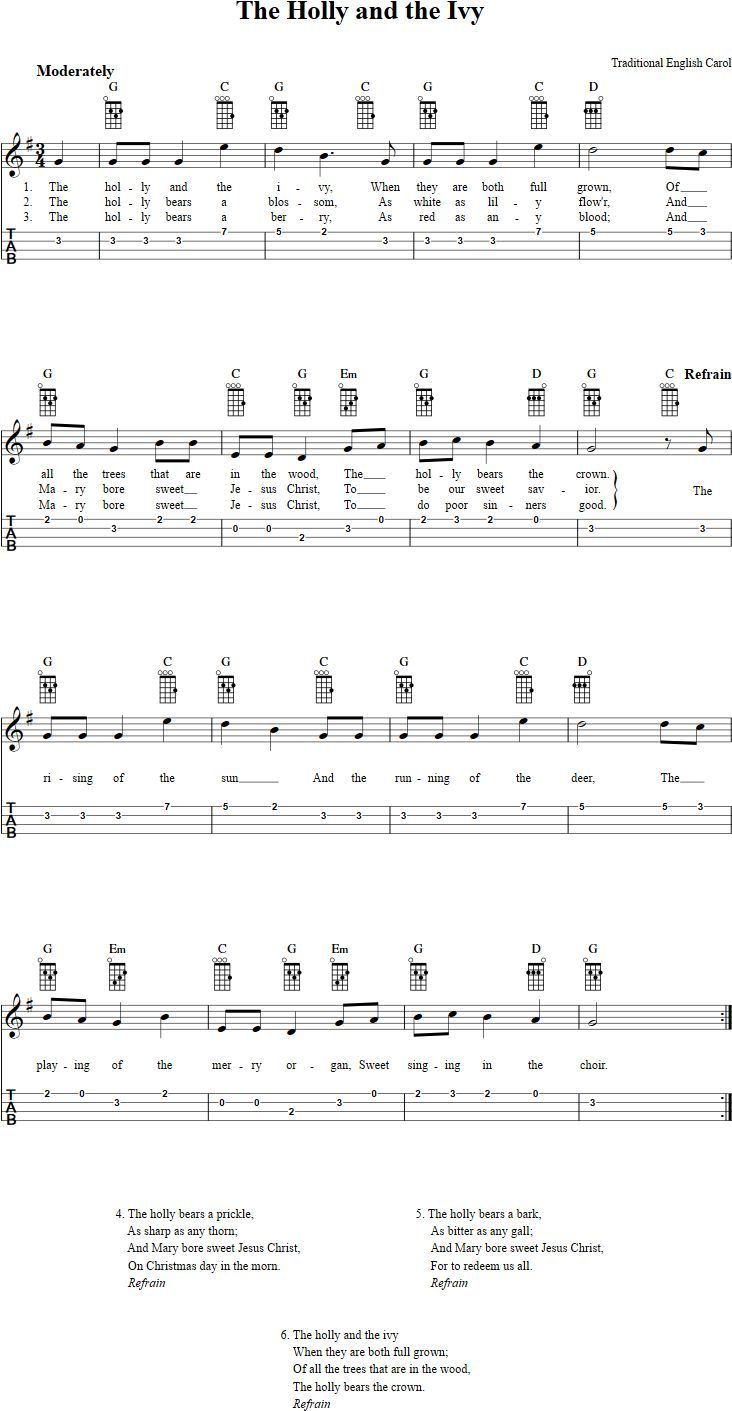 71 best ukulele images on pinterest coloring pages instruments free ukulele sheet music for the holly and the ivy with chord diagrams lyrics and tablature hexwebz Gallery