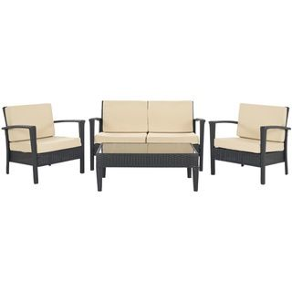 Safavieh Outdoor Living PE Wicker Yellow Cushion Glass Top 4 Piece Patio  Set (FOX6006C), Brown, Size 4 Piece Sets, Patio Furniture (Aluminum)