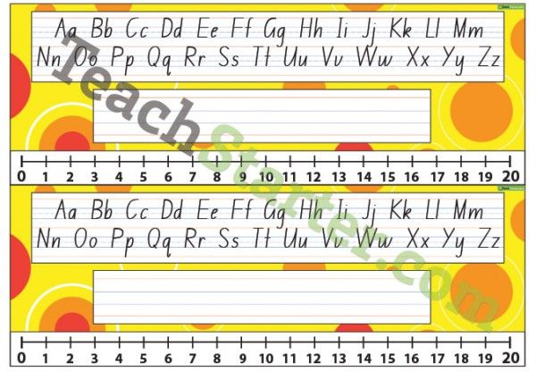 Desk Plate – Alphabet and Number Line 0-20 – Spots – Yellow | Teaching Resources - Teach Starter