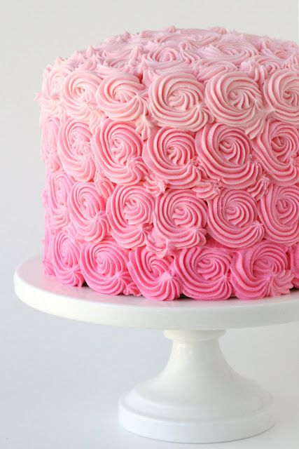 Pink Ombre Swirl Cake | The gradations of pink make this cake stand out.