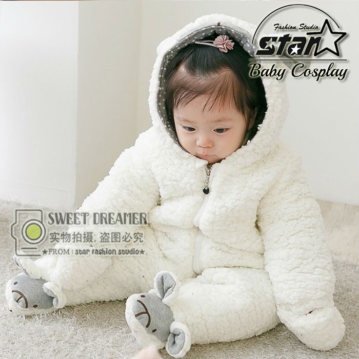 2016 New Autumn Winter Baby Romper Boys Girls Jumpsuit Winter Soft Hooded Warm Fleece Thicken Clothes Cute Lovely Sheep Design