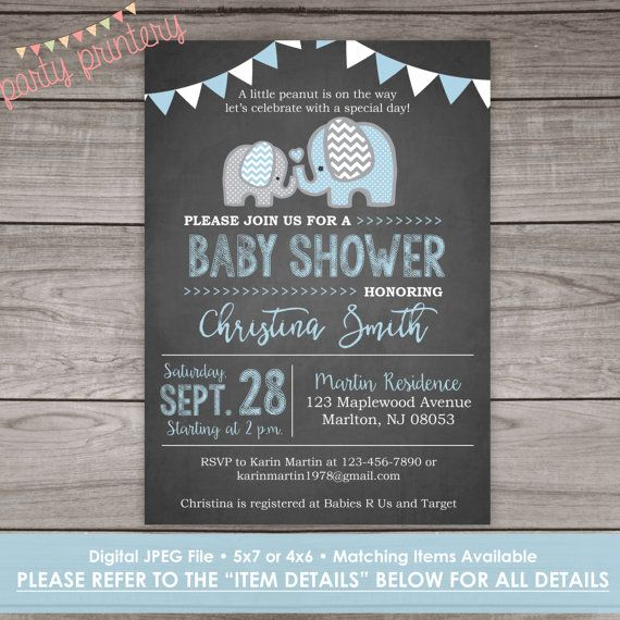 Elephant Baby Shower Invitation for a Boy- Chalkboard Blue Elephant Template - Baby-102