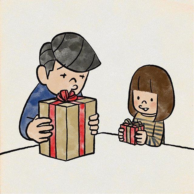 プレゼント交換 娘がパパも何か高いモノサンタさんに頼んでみたらと 頼みたいね プレゼント クリスマス イラスト Illustration Vault Boy Character