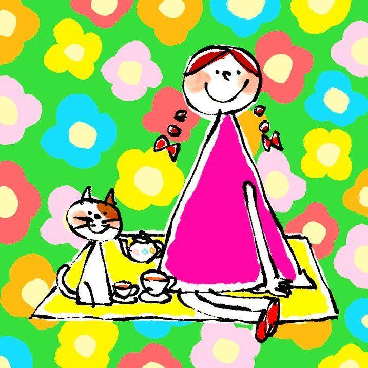 Illust Illustration Cute Flower Picnic Girl Cat