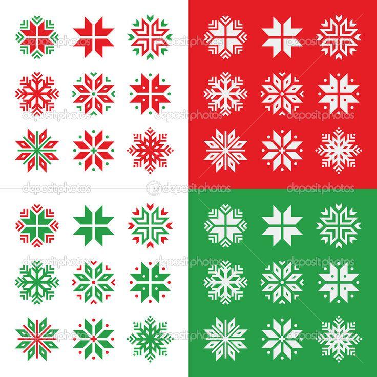 Boże Narodzenie, zima, czerwony i zielony śniegu wektor zestaw ikon - Ilustracja stockowa: 35663629