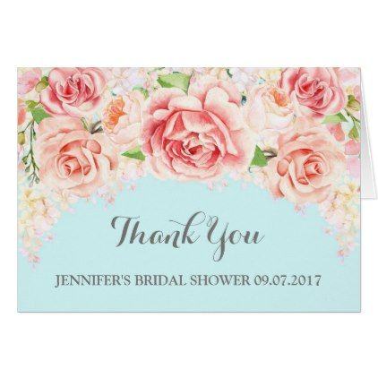 #wedding #thankyoucards - #Pink Floral Baby Blue Bridal Shower Thank You Card