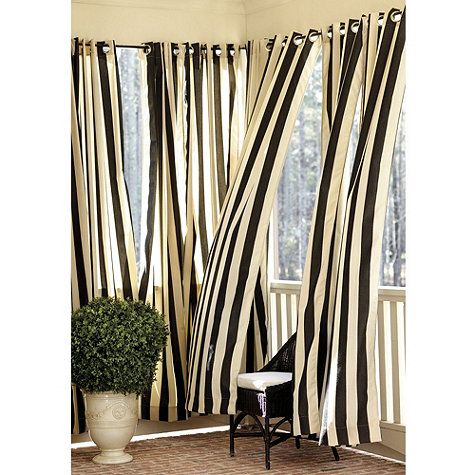 new drapery for back porch ballard indoor outdoor curtain canopy stripe black sand sunbrella. Black Bedroom Furniture Sets. Home Design Ideas