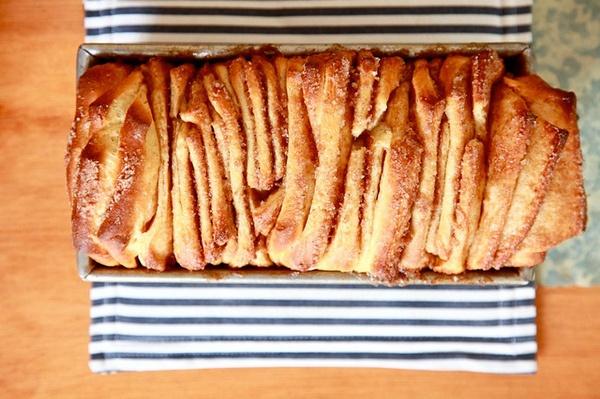 "Cinnamon-Sugar Pull-Apart Bread... ""Bread that's more fun than a pan of monkeys""  :)  from Joy the Baker"