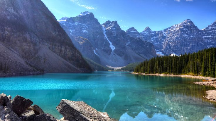 Earth Moraine Lake  Banff National Park Alberta Canada Canadian Rockies Lake Mountain Reflection Cliff Wallpaper
