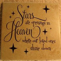 "Stars are openings in heaven where our loved ones shine down is done on a 6x6"" tile. This is to remember all of those we have lost. Each tile comes with an easel back or a small easel for standing. Even though I purchase the same tiles at the same time, the color may vary slightly. Makes a gr..."