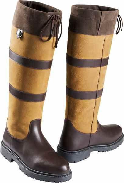 Stivali Equi-thème da equitazione modello Kilkenny, impermeabili  in pelle di bufalo bicolore con doppia finitura liscia / grana.