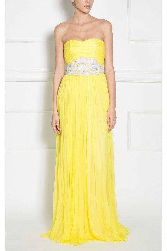 rochie lunga galbena - rochii de seara lungi la reducere