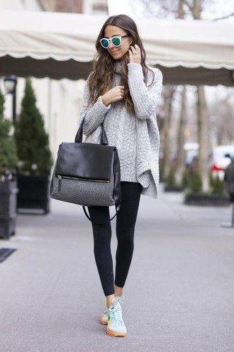 something navy blogger leggings sunglasses oversized turtleneck sweater brunette sneakers handbag winter sweater