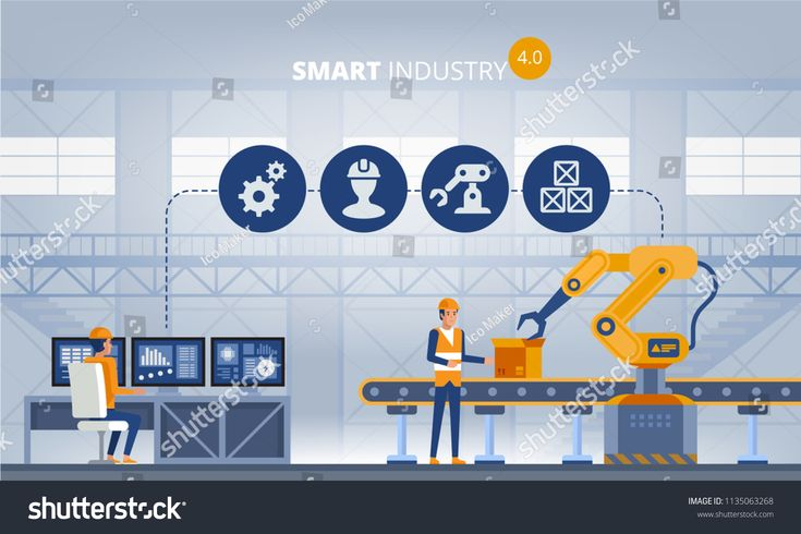 Industry 4.0 Smart factory concept. Workers, robot arms and assembly line. Technology vector illustration #Sponsored , #sponsored, #factory#concept#Wo…