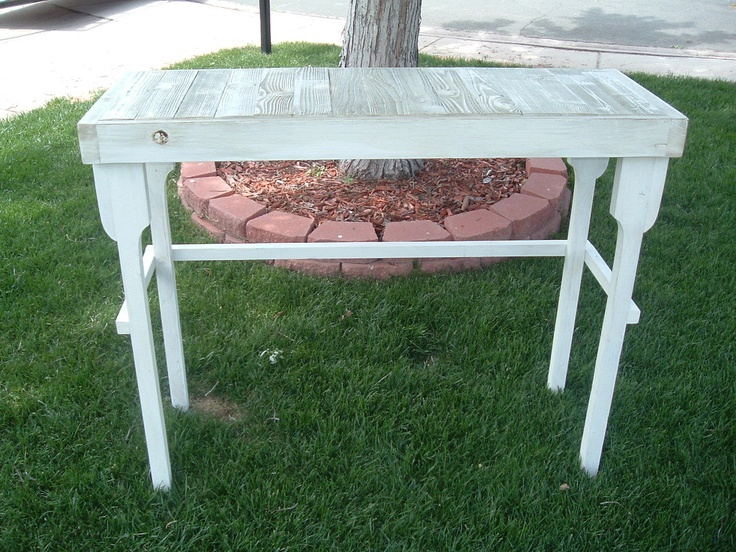 Reclaimed Fence Wood Bar/Table In Antique White With