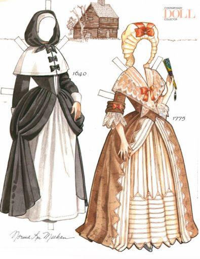 Colonial American Woman Paper Doll | Gabi's Paper Dolls